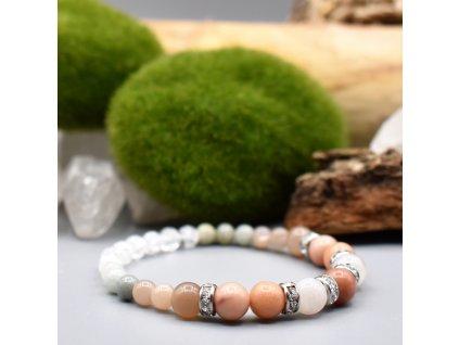Náramek z minerálů OCHRANA A HARMONIE - růžový avanturín, měsíční kámen jadeit, pukaný křišťál, chirurgická ocel
