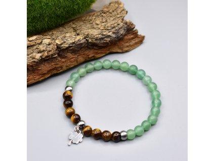 Náramek z minerálů ŠTĚSTÍ - tygří oko, zelený avanturín, čtyřlístek, chirurgická ocel