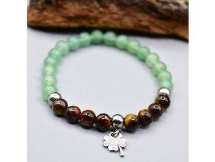 Dětský náramek z minerálů ŠTĚSTÍ - tygří oko, zelený avanturín, čtyřlístek, chirurgická ocel