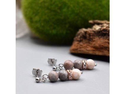 Náušnice z minerálů SÍLA ZEMĚ - růžový zebrovaný jaspis, mosaz, chirurgická ocel