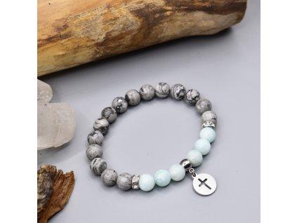 Náramek z minerálů OCHRANA A INTUICE - amazonit, krajinový jaspis, křížek, chirurgická ocel 316L