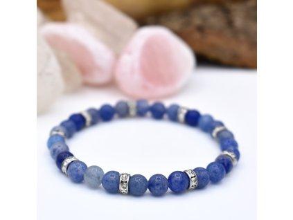 Náramek z minerálů VYROVNANOST - modrý avanturín, chirurgická ocel