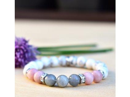 Náramek z minerálů SVĚTLO ŽIVOTA -labradorit, růžový opál, bílý magnezit, květ života, chirurgická ocel