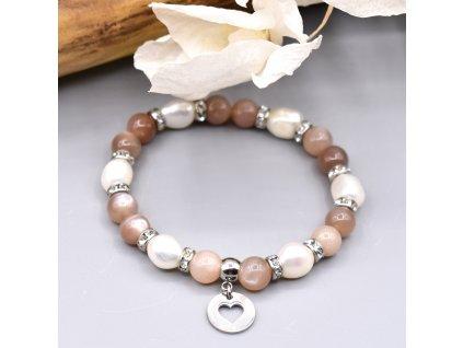 Náramek z minerálů SVĚTLO LUNY - měsíční kámen, říční perly, srdce, chirurgická ocel