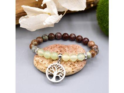 Náramek z minerálů PROPOJENÍ S PŘÍRODOU - jadeit, africký opál, strom života, chirurgická ocel
