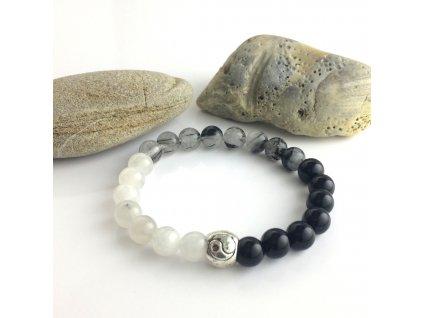 Náramek z minerálů Jin a Jang rovnováha – obsidián, turmalín v křišťálu