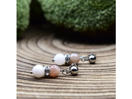 Náušnice z minerálů RAK - měsíční kámen, růžový avanturín, chirurgické ocel