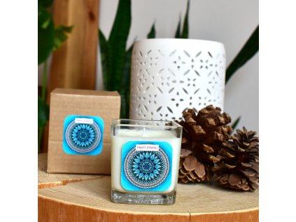 Mandalová aromaterapeutická svíčka PROTI STRESU