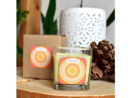 Mandalová aromaterapeutická svíčka POVZBUZENÍ