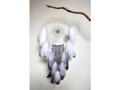 Lapač snů Krásné snění - duhový a šedý měsíční kámen