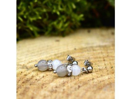 Náušnice z minerálů OCHRANA A LÁSKA - měsíční kámen, labradorit, chirurgická ocel