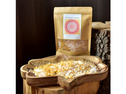 Aromaterapeutická himalájská sůl POZITIVNÍ VIBRACE - měsíček, mandarinka, bergamot 300g