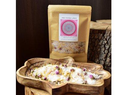 Aromaterapeutická himalájská sůl PRO CHVÍLE LÁSKY - měsíček, růže, ylang ylang, růžové dřevo 300g