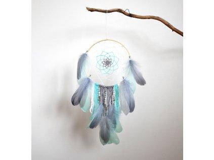 Lapač snů Krásný sen - akvamarín, achát, měsíční kámen