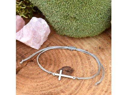 Shamballa náramek KŘÍŽEK - chirurgická ocel, nylon