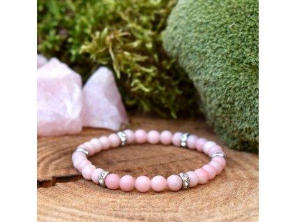 Náramek z minerálů VNITŘNÍ ŠTĚSTÍ – růžový opál, chirurgická ocel