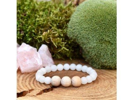 Náramek z minerálů SÍLA PŘÍRODY - bílý nefrit, přírodní dřevo