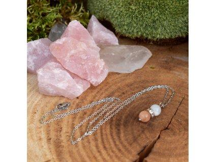 Řetízek s přívěškem z minerálů OCHRÁNCE LÁSKY – morganit, bílý měsíční kámen, bílý nefrit, chirurgická ocel