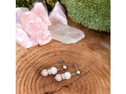 Náušnice z minerálů OCHRÁNCE LÁSKY – morganit, bílý měsíční kámen, chirurgická ocel