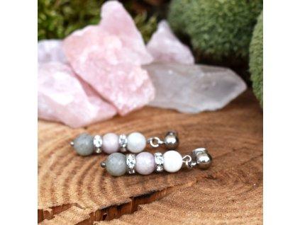 Náušnice z minerálů SEBEDŮVĚRA – kunzit, labradorit, bílý měsíční kámen, chirurgická ocel