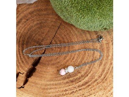 Řetízek s přívěškem z minerálů OCHRÁNCE ŠTĚSTÍ A HARMONIE – růžový opál, bílý nefrit, chirurgická ocel