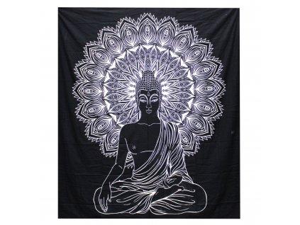 Přehoz na postel BUDDHA - velký, černobílý