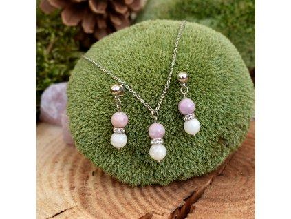 Souprava šperků z minerálů LÁSKYPLNÉ VZTAHY - kunzit, měsíční kámen, chirurgická ocel