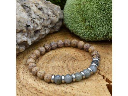 Náramek z minerálů STŘELEC - labradorit, sloní jaspis, chirurgické ocel, unisex