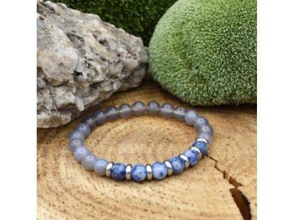 Náramek z minerálů PANNA - modrý jaspis, šedý achát, chirurgická ocel, unisex