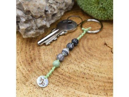 Macramé klíčenka z minerálů KOZOROH - zelený opál, síťovaný jaspis, chirurgické ocel