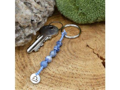 Macramé klíčenka z minerálů VÁHY - modrý avanturín, modrý jaspis, chirurgická ocel