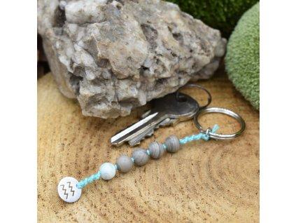 Macramé klíčenka z minerálů VODNÁŘ - amazonit, stříbrný jaspis, chirurgické ocel