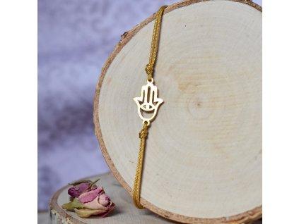 Shamballa náramek HAMSA - chirurgická ocel gold, nylon
