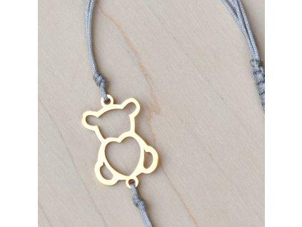 Shamballa náramek MEDVÍDEK - chirurgická ocel gold, nylon