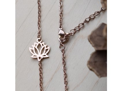 Řetízkový náramek LOTOSOVÝ KVĚT - chirurgická ocel rose gold