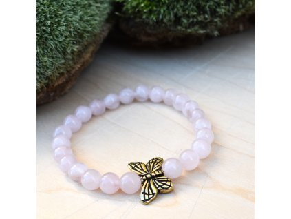Dětský náramek z minerálů NĚŽNÉ POHLAZENÍ - motýlek, madagaskarský růženín