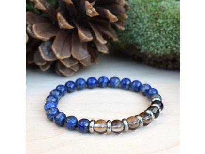 Náramek z minerálů INSPIRACE A KREATIVITA - lapis lazuli, záhněda, chirurgická ocel, unisex