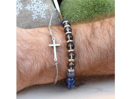 Dárkový balíček pro muže INSPIRACE A KREATIVITA - lapis lazuli, záhněda, křížek, chirurgická ocel, unisex