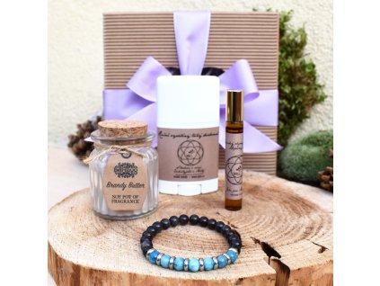 Dárkový balíček pro muže POZITIVNÍ MYŠLENÍ (M) - náramek, svíčka, tuhý deodorant, parfém