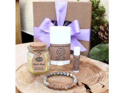 Dárkový balíček pro muže SÍLA PŘÍRODY (M) - náramek, svíčka, tuhý deodorant, balzám na rty