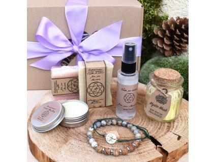 Dárkový balíček pro muže SÍLA PŘÍRODY (L) - náramek, shamballa, sada mýdel pro muže, voda po holení, krémový deodorant, svíčka