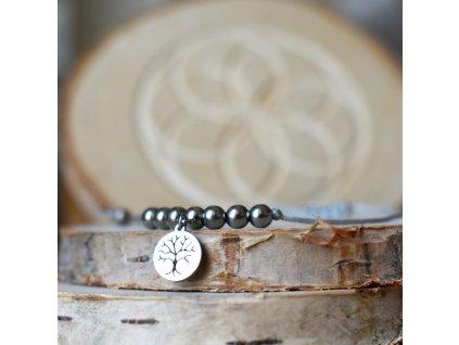 Shamballa náramek s přívěškem STROM ŽIVOTA - chirurgická ocel, nylon