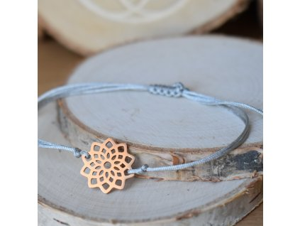 Shamballa náramek MANDALA KVĚT ŽIVOTA rose gold- chirurgická ocel, nylon