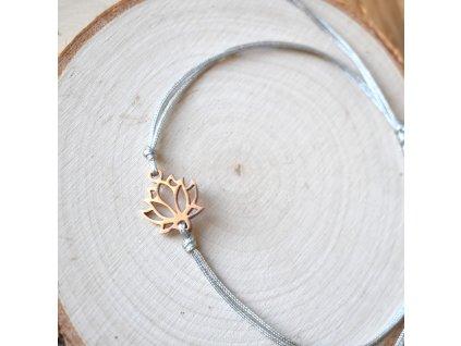 Shamballa náramek LOTOSOVÝ KVĚT rose gold - chirurgická ocel, nylon