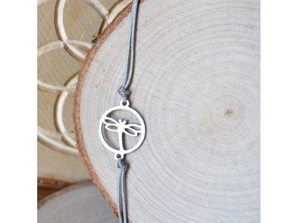 Shamballa náramek VÁŽKA - chirurgická ocel, nylon