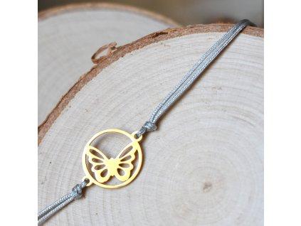 Shamballa náramek MOTÝL gold - chirurgická ocel, nylon