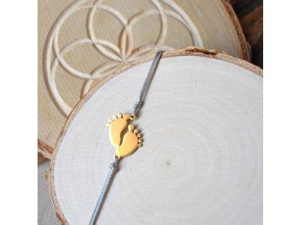 Shamballa náramek PRVNÍ KRŮČKY gold - chirurgická ocel, nylon