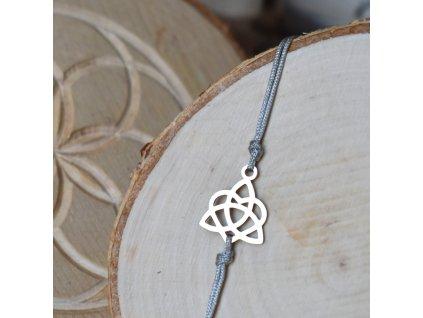 Shamballa náramek KELTSKÝ UZEL LÁSKY jednoduchý - chirurgická ocel, nylon
