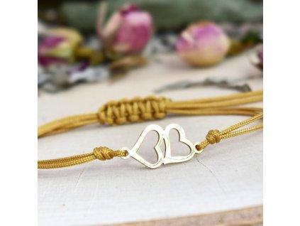 Shamballa náramek PROPOJENÁ SRDCE gold - chirurgická ocel, nylon
