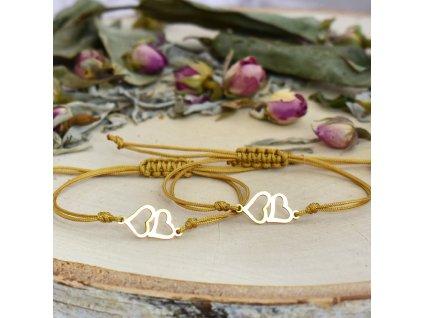 Dvojice shamballa náramků PROPOJENÁ SRDCE gold - chirurgická ocel, nylon